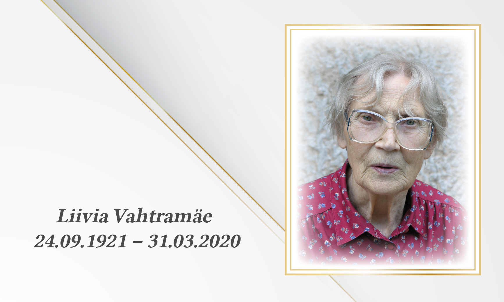 In memoriam Liivia Vahtramäe